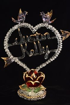 Custom Made Lace Heart Rose with Name/s Wedding Gifts, Wedding Ideas, Blown Glass Art, Lace Heart, Some Ideas, Sculpture, Rose, Jewelry, Wedding Day Gifts