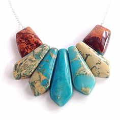 Bib statement necklace  pendants  turquoise by BijouxDesignsStudio, $58.00