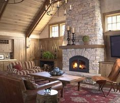 Fireplace Mantel Stone Fireplace Designs Cottages Stacked Stones