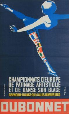 European Skating Championships poster  Roger David  1964