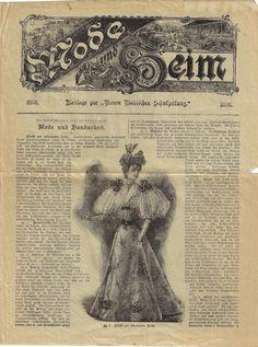 Mode und Heim - 3 Beilagen von 1896 Vintage World Maps, Prayers, Fashion Magazines, Side Dishes