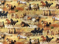 Dekostoff, Horses, Digitaldruck, 91137-01,  bei stoffe-hemmers.de, Exklusiver Baumwollstoff mit tollem Digital-Druck in besonders hochwertiger