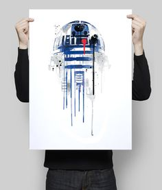 A4: 113 kr. + shipping - Watercolor R2D2 Alternative poster Print   All prints are ready to be framed with a white border around the image (0,5 inch. aprox.)  - Frame