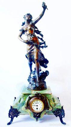 Auguste MOREAU - Reveil du Mai, monumental reloj con escultura Art Nuveau S.XIX - Foto 1