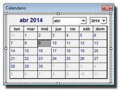Control Calendario insertado en el formulario