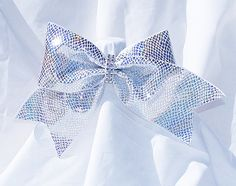 Cheer bow White with sliver holographic by MadeForMeCheerBows