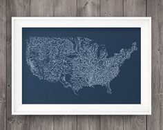 U.S. Rivers Screen Print by HeyDarlinPrints on Etsy
