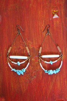 Turquoise dangle earrings shell bone and by StarsonMarsJewelryCo