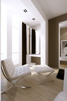 Timeless classics like Mies Van Der Rohe's Barcelona Chair?  We love'em.  ARTICLE: The Barcelona Chair, DESIGNED By Mies van der Rohe, in white