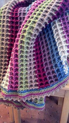 Gorgeous Waffle Stitch Blanket posted to the Crochet Crowd's website.