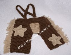 Cowboy chaps with nappy cover and adjustable braces  Removable stars  Approx ~ 0-3mths  £15.00
