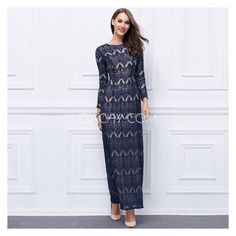 Elegant Jewel 3/4 Sleeve Sheath Ankle-Length Evening Dress Vintage Lace 2017 - OACHY The Boutique #sheath, #vintage, #lace, #dress, #boutique