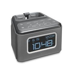 Dual alarm clock works with all Bluetooth-enabled devices. Features a universal dock that fits any smartphone while streaming audio or charging through the USB port. A cool, built-in speakerphone allows you to answer/end calls through the unit. Purple Bedding, Grey Bedding, Radio Alarm Clock, Digital Alarm Clock, Bedding Shop, Bluetooth Speakers, Shades Of Purple, Bath Towels, Cool Things To Buy