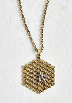 Hive Been Everywhere Necklace. On every occasion for which youve sported this honeycomb pendant, youve collected compliments galore! #gold #modcloth