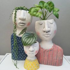 head planters lady planters girl planters woman planters for houseplantsWhen you have plants on the brain 🧠🤣 Repost from using - So in love with this trio from…Your styling is always impeccable. Thanks for sharing your new family portrait Pot Face Planters, Ceramic Planters, House Plant Care, House Plants, Ceramic Pottery, Ceramic Art, Decoration Plante, Clay Art, Garden Art
