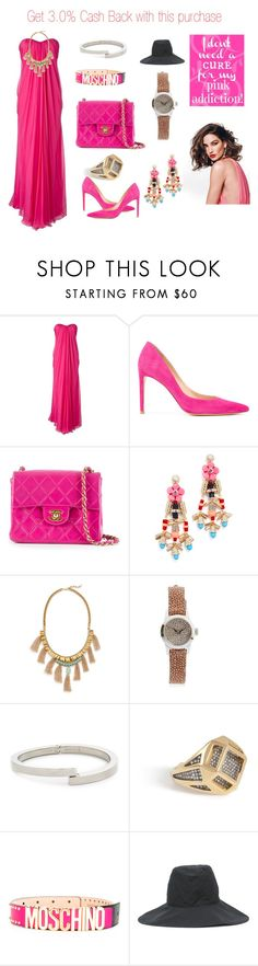 """Pink addiction.."" by jamuna-kaalla ❤ liked on Polyvore featuring Alexander McQueen, Stuart Weitzman, Chanel, Adia Kibur, Deepa Gurnani, Christian Koban, Vita Fede, Noor Fares, Moschino and Kijima Takayuki"