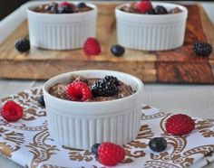 Chocolate Chia Pudding via My Whole Food Life  2 cups milk (e.g. coconut, almond, hemp)  1/2 cup chia seeds 1/2 cup blueberries 1/2 cup raspberries 1/2 cup blackberries 2 T cocoa powder  http://mywholefoodlife.com/2013/02/25/chocolate-chia-seed-pudding/