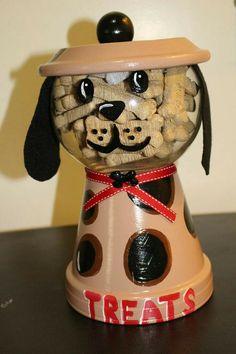 Dog Treat Candy Jar Cookie Jar Gumball Machine Bank Terrarium Fish Bowl terracotta Hund behandeln Ca Clay Flower Pots, Flower Pot Crafts, Painted Flower Pots, Painted Pots, Clay Pots, Clay Pot Projects, Clay Pot Crafts, Diy Clay, Shell Crafts