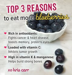 Top 3 Reasons To Eat More Blueberries #vegan #raw #blueberries #plantbased #kriscarr