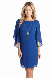 AGB Split-Sleeve Shift Dress with Necklace