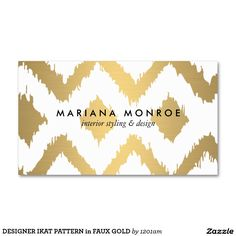 Gold Ikat Pattern Business Card Template for Interior Designers. Easy to personalize. Fast shipping.