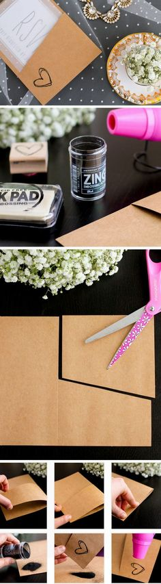 Invitation Pocket Folds | DIY Winter Wedding Invitations on a Budget