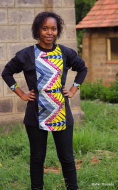 Long Sleeved Kitenge Tshirts  fused with Jersey by RafikiThreads, $35.00