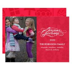 Family Seasons Greetings red christmas pattern Card - patterns pattern special unique design gift idea diy