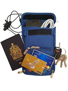 Travel passport wallet neck pouch with RFID safe blocking 600D Nylon >>> Read more  at the image link.