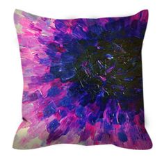 VACANCY, Purple Floral Ombre Art Suede Throw Pillow Cushion