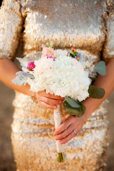Glittery gold bridesmaid dress with white and pink bouquet. #weddingchicks http://www.weddingchicks.com/2014/07/07/wedding-sign-palooza/