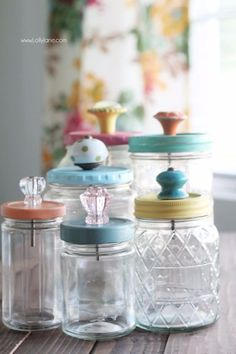 Mason Jar Crafts You Can Make In Under an Hour - Upcycled Mason Jar With Pretty Glass Knob Tops- Quick Mason Jar DIY Projects that Make Cool Home Decor and Awesome DIY Gifts - Best Creative Ideas for Mason Jars with Step By Step Tutorials and Instructions - For Teens, For Home, For Gifts, For Kids, For Summer, For Fall http://diyjoy.com/quick-mason-jar-crafts