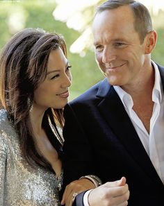 Phil Coulson and Melinda May. It's like the first time I've seen her wear a dress! So exciting! Marvel Heroes, Marvel Dc, Marvels Agents Of Shield, Agents Of Shield May, Melinda May, Ming Na Wen, Clark Gregg, Phil Coulson, Clint Barton