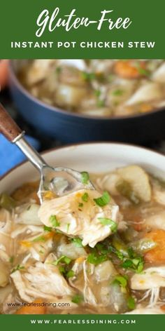 If you love comfort food, this easy gluten free chicken pot stew is perfect. Make in your Instant Pot or pressure cooker! Full of tender chicken, carrots, potatoes, and more. This thick hearty chicken stew is perfect for dinner. Gluten Free Recipes For Dinner, Healthy Gluten Free Recipes, Gluten Free Soups, Healthy Meals, Dinner Recipes, Paleo, Stew Chicken Recipe, Leftover Chicken Recipes, Chicken Vegetable Stew