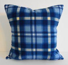 Blue Plaid Decorative Pillow Cover Throw Pillow by pillows4fun, $15.00