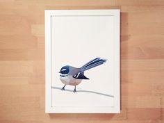 New Zealand bird, Fantail painting, Geometric poster, Native New Zealand bird…
