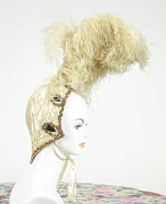 Vintage 1920s 30s Ostrich Feather Headdress, Authentic Jeweled Satin Cabaret Burlesque Flapper Showgirl Headpiece