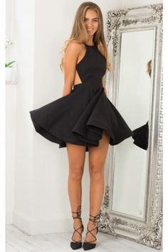 Black High Neckline Open Back Skater Dress | USTrendy
