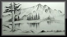 landscape drawing mountain pencil easy drawings scenery step nature sketch paintings tutorial