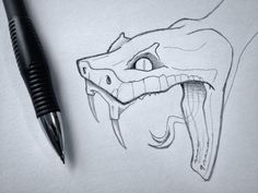 Snake Head Sketch - Super, super early stages of a sketch for something that I am really hope I make… - Snake Sketch, Snake Drawing, Snake Art, Sketch Head, Cool Art Drawings, Pencil Art Drawings, Art Drawings Sketches, Easy Drawings, Drawing Ideas