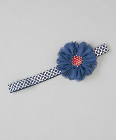 Navy Quatrefoil Flower Headband #zulily #zulilyfinds