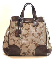 Authentic Celine Fabric Leather Handbag Tote Bag