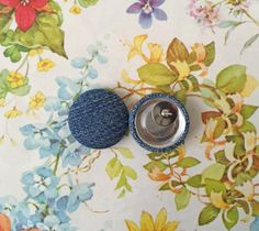 Fabric Button Earrings / Recycled Denim / by ManhattanHippy
