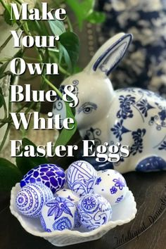 Style And Design Your Individual Enterprise Playing Cards In The Home Make Your Own Blue and White Easter Eggs. Make A Chinosierie Or Blue Willow Pattern With Two Simple Craft Items. Diy Easter Eggs To Match Your Blue And White Decor. Willow Pattern, Diy Ostern, Egg Designs, Easter Crafts, Easter Decor, Easter Ideas, Dollar Store Crafts, Easter Wreaths, White Decor