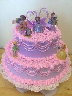 bolo decorado lilás e rosa princesa Sofia