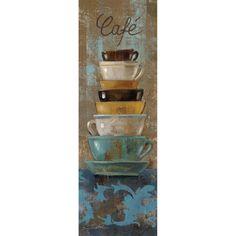 Silvia Vassileva Poster Print Wall Art Print entitled Antique Coffee Cups I Coffee Artwork, Coffee Cup Art, Coffee Wall Art, Coffee Painting, Coffee Poster, Crayons Pastel, Cafe Art, Art Decor, Decoration