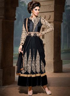 Black Georgette Ankle Length #Anarkali Suit