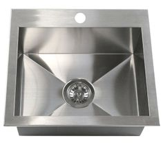 19 Inch Top-Mount / Drop-In Stainless Steel Single Bowl Kitchen Island / Bar Sink Zero Radius Design