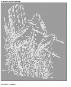Item 81 Bird Fence Filet Crochet Doily Curtain Pattern