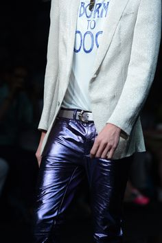 Leather jeans metallic by Roberto Cavalli Menswear SS 2013